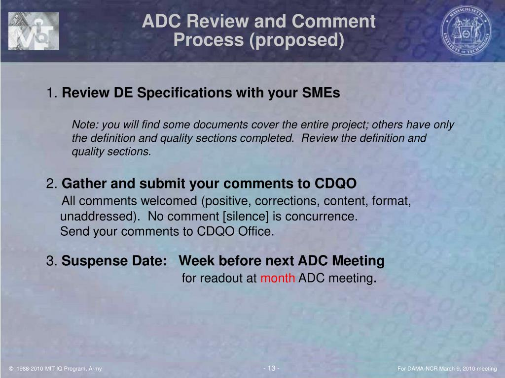 ADC Review and Comment Process (proposed)