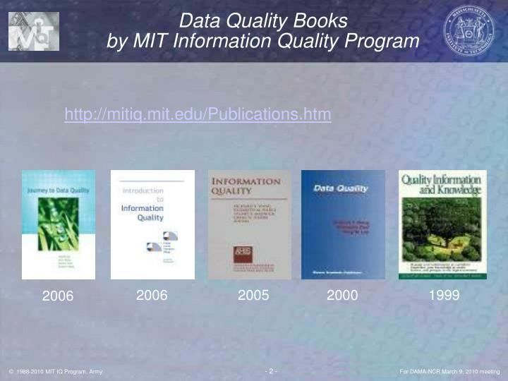 Data quality books by mit information quality program l.jpg