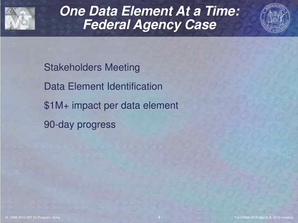 One Data Element At a Time: