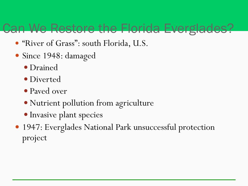 Can We Restore the Florida Everglades?