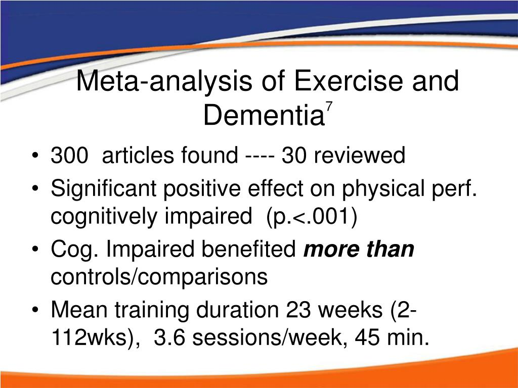 Meta-analysis of Exercise and Dementia