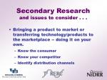 secondary research and issues to consider
