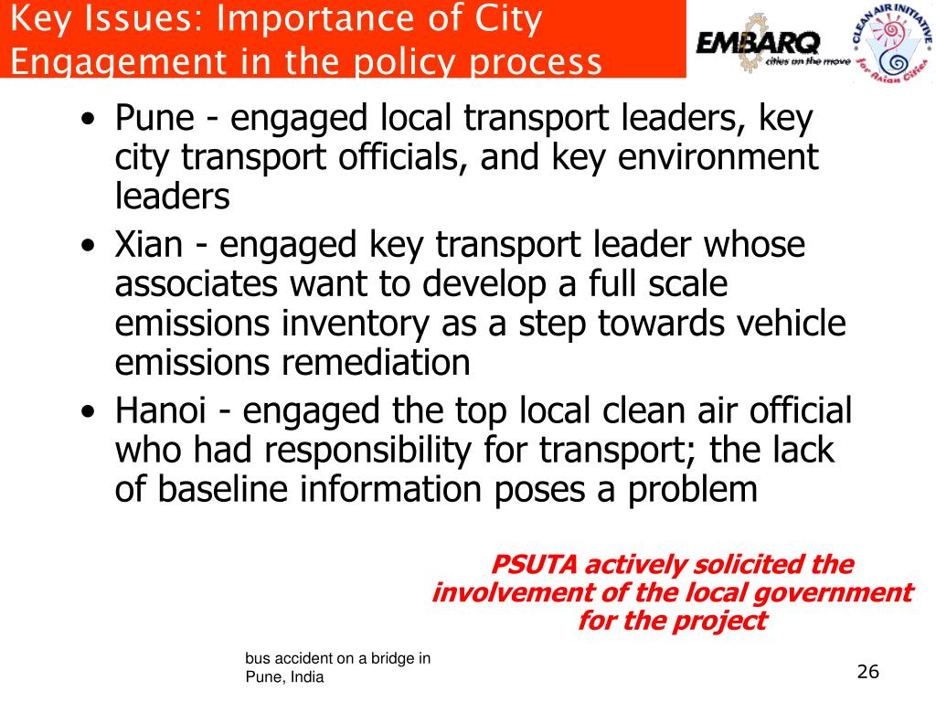 Key Issues: Importance of City Engagement in the policy process