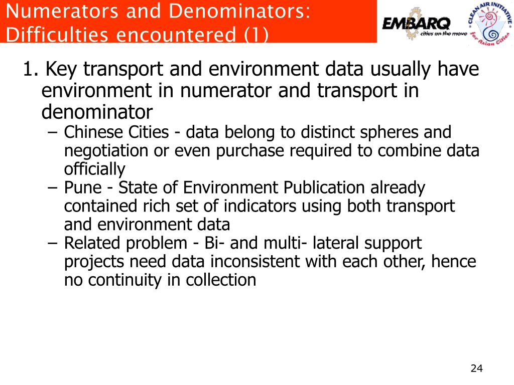 Numerators and Denominators: Difficulties encountered (1)
