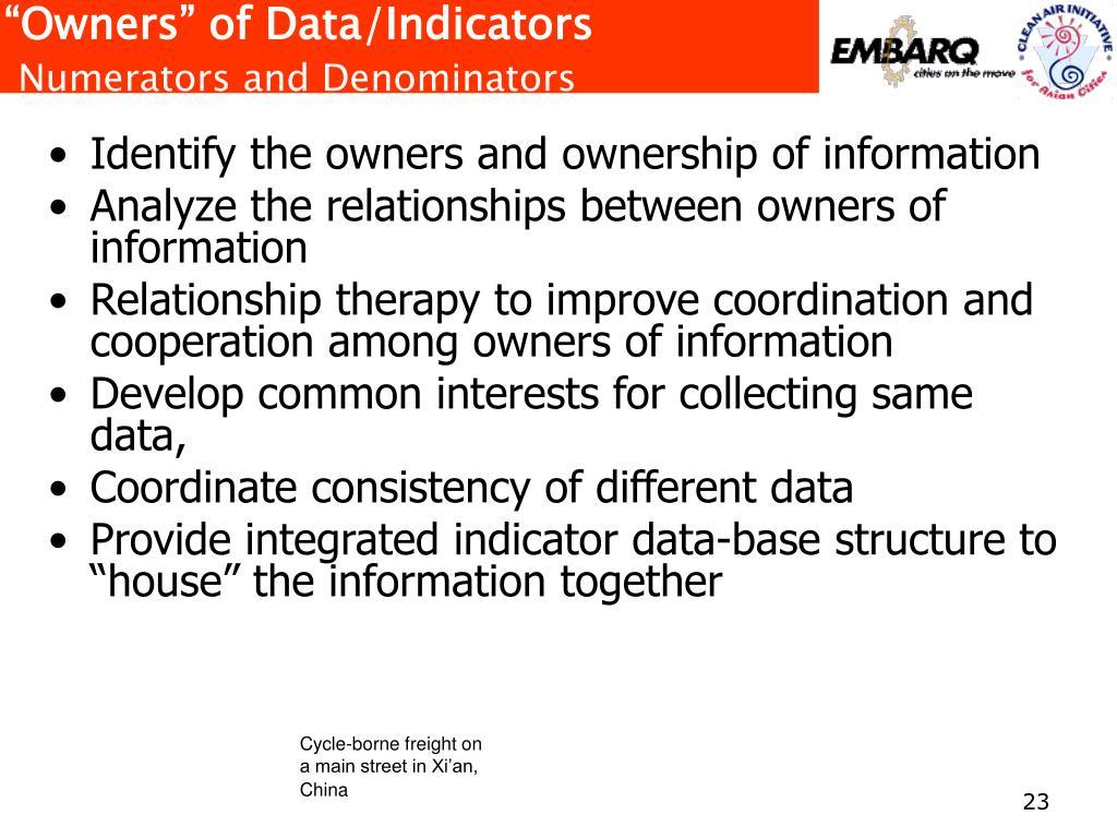 """Owners"" of Data/Indicators"