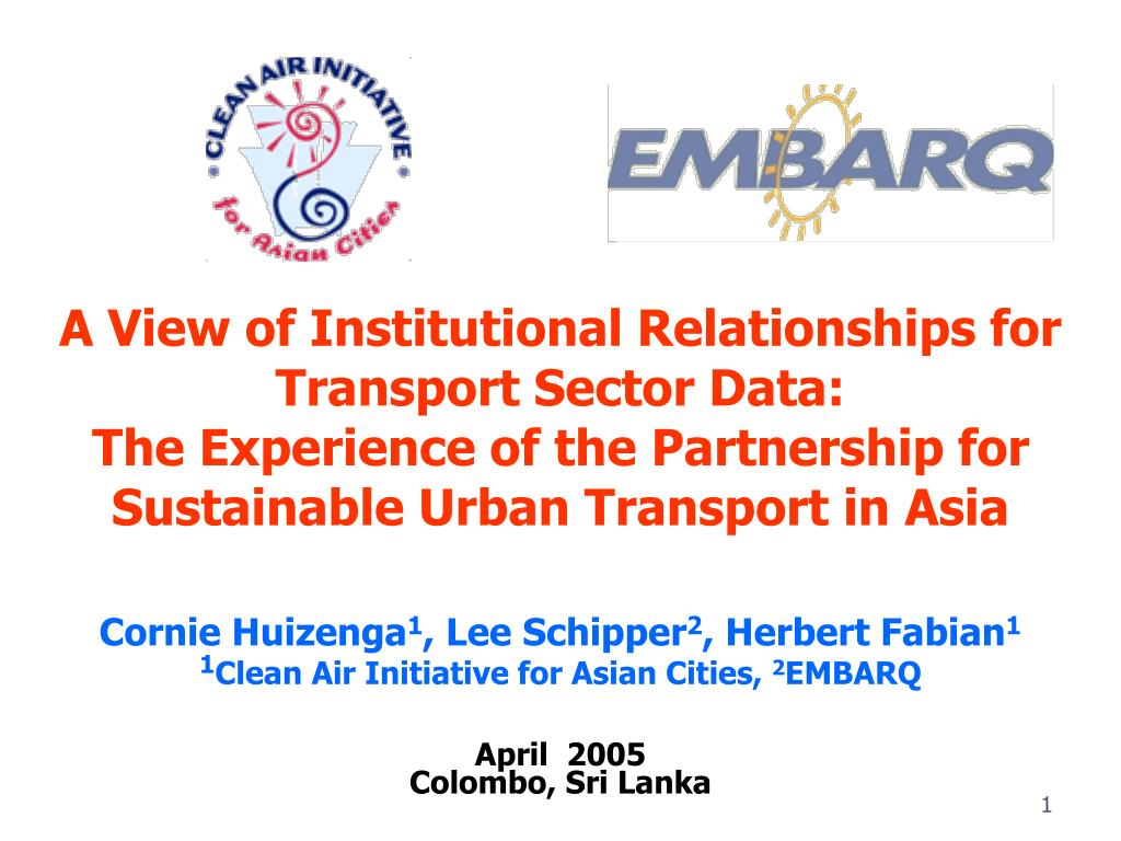 A View of Institutional Relationships for Transport Sector Data: