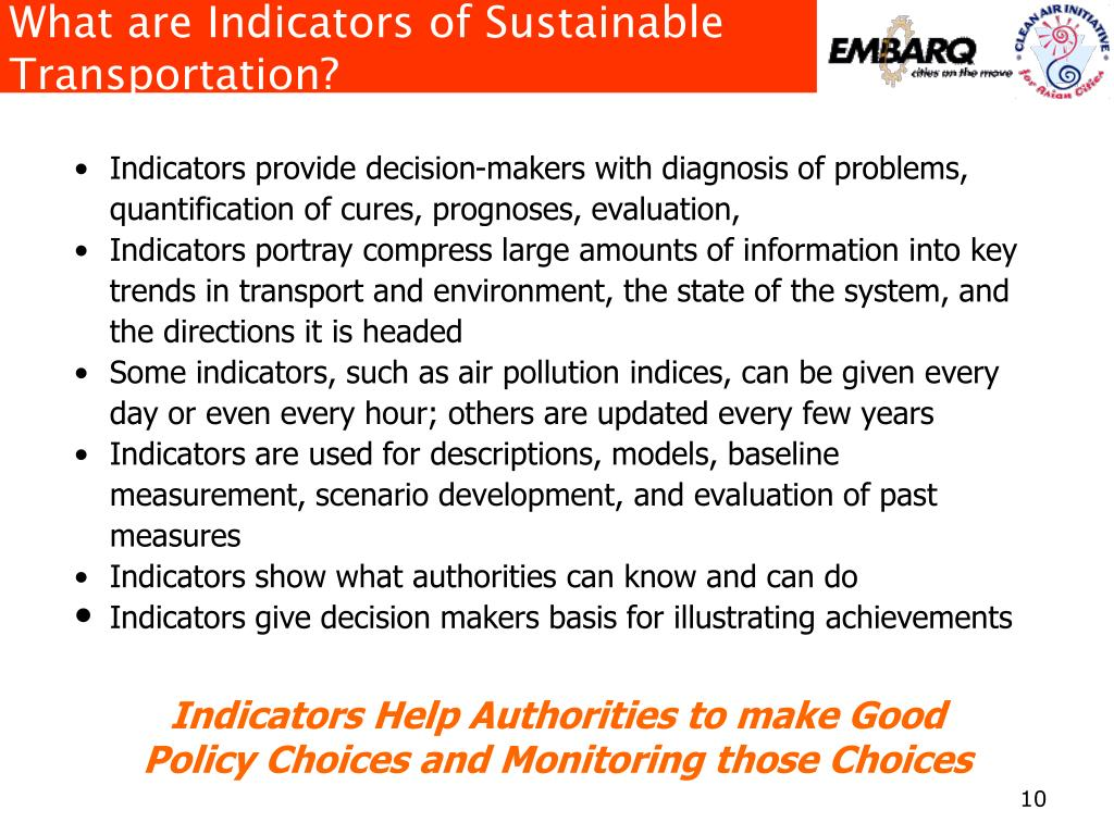 What are Indicators of Sustainable Transportation?