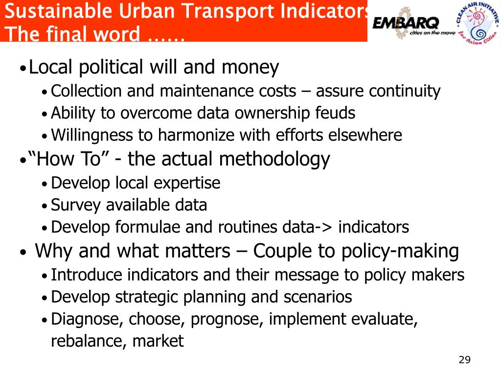 Sustainable Urban Transport Indicators