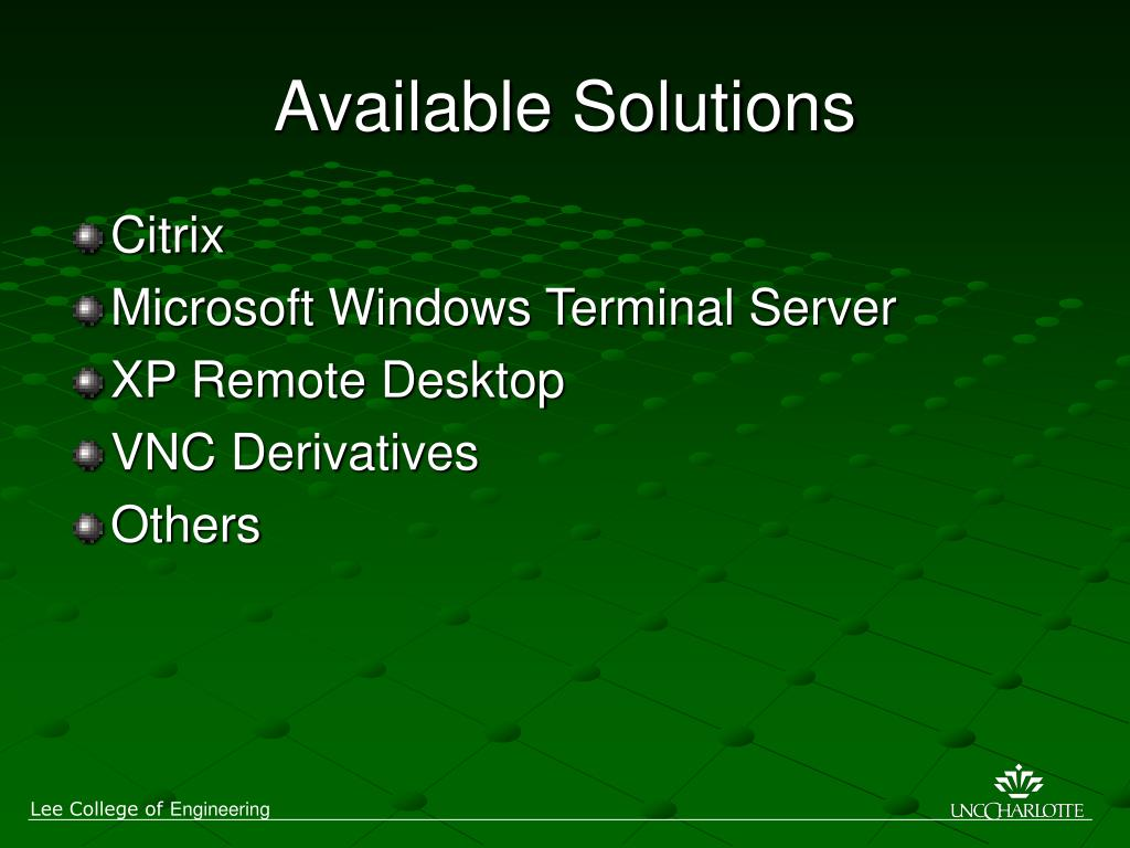 Available Solutions