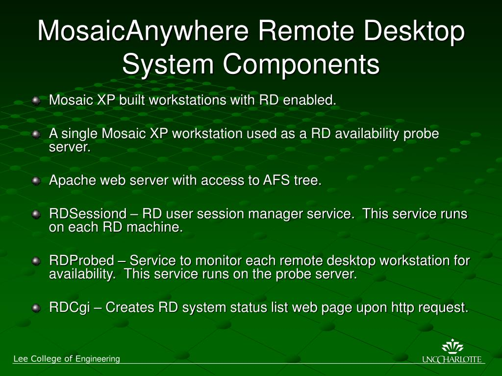 MosaicAnywhere Remote Desktop System Components