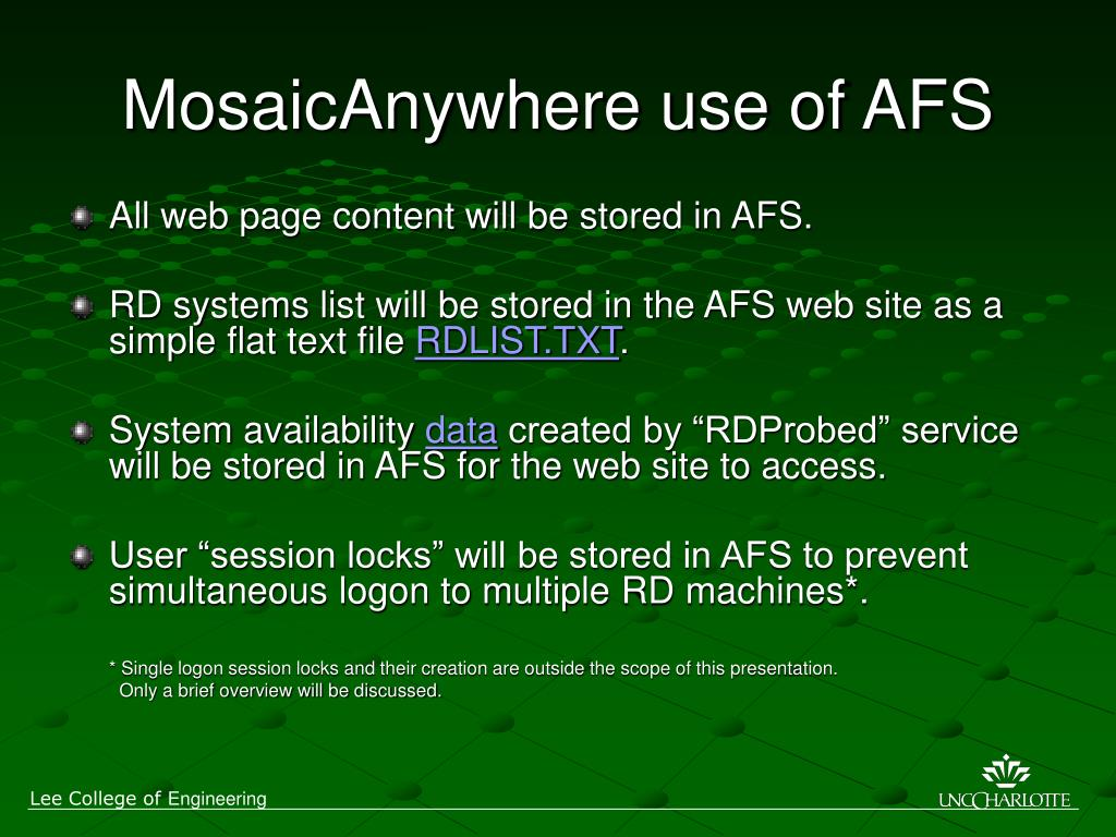 MosaicAnywhere use of AFS