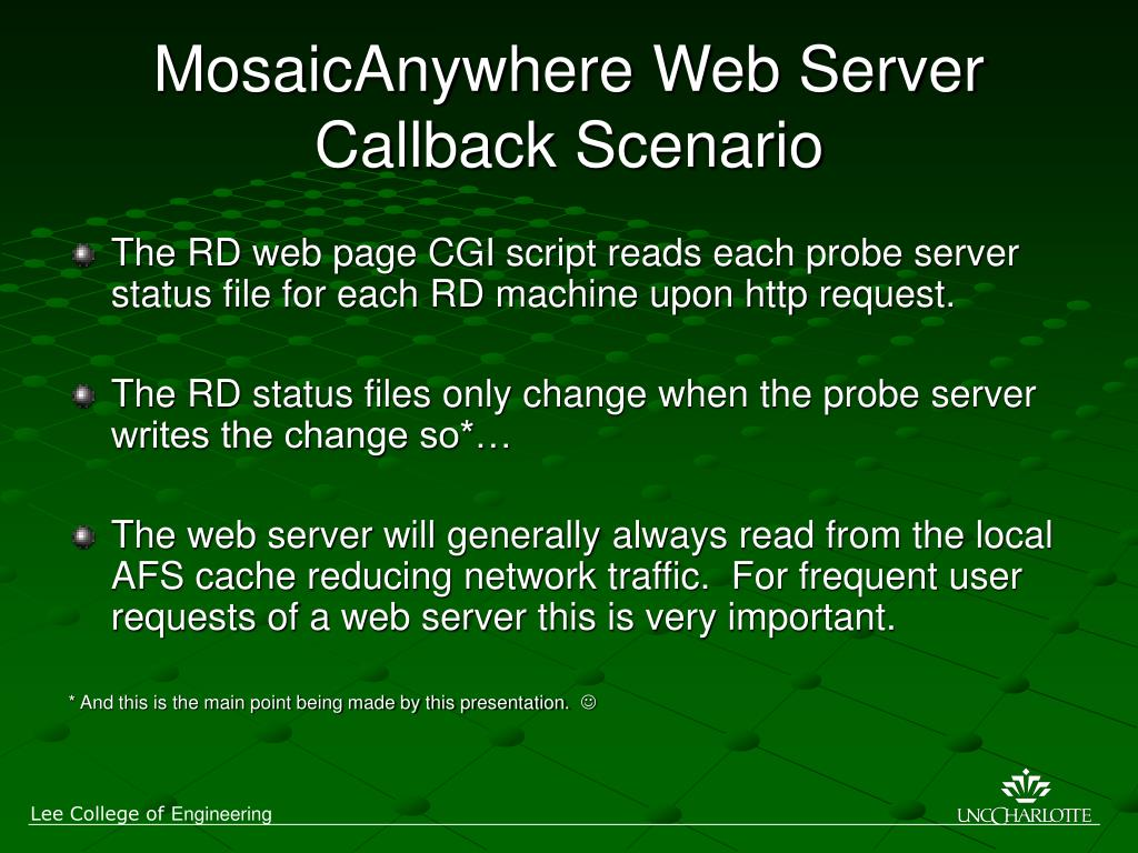 MosaicAnywhere Web Server Callback Scenario