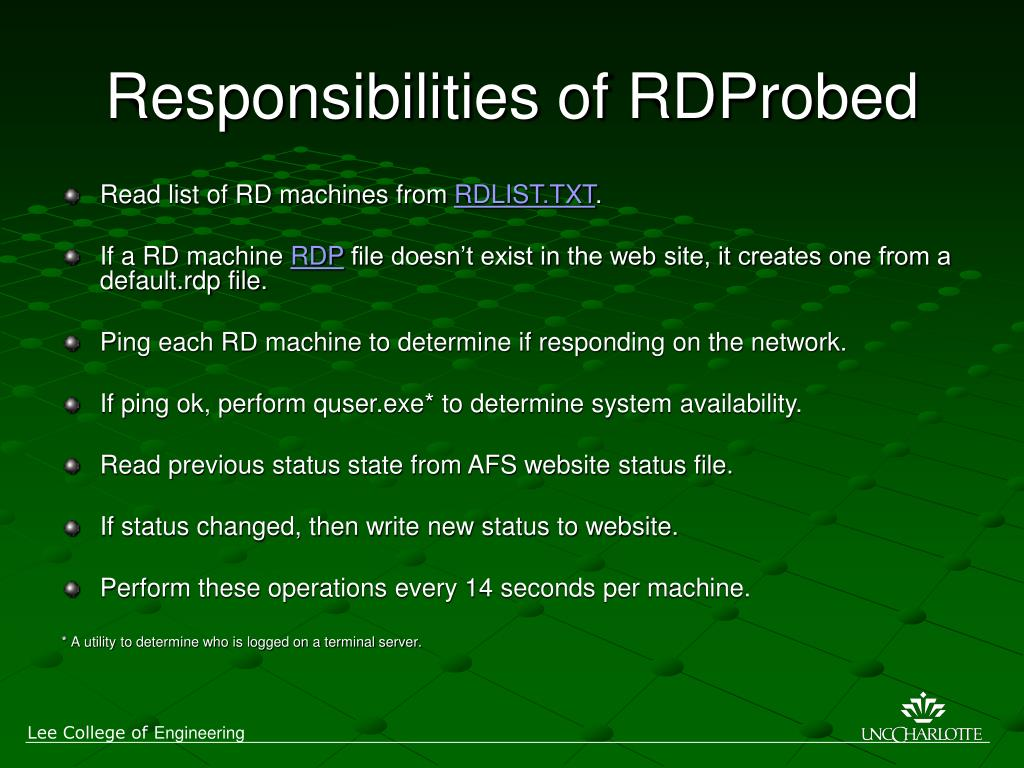 Responsibilities of RDProbed