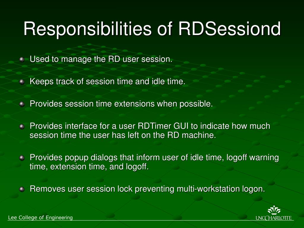 Responsibilities of RDSessiond