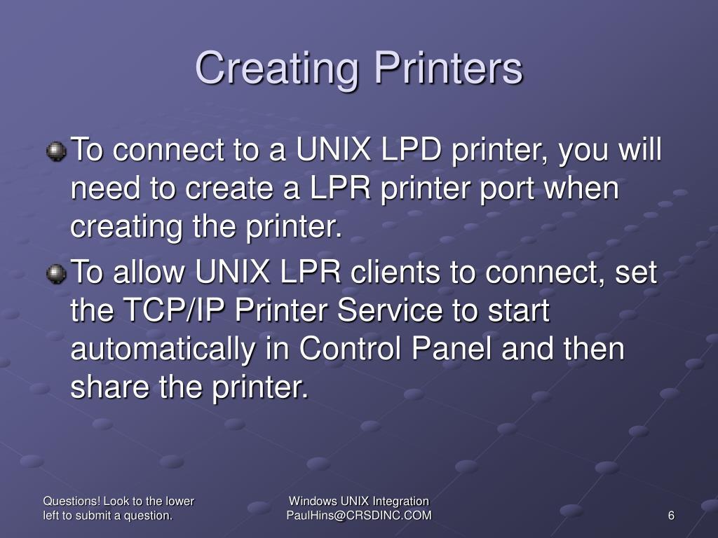Creating Printers