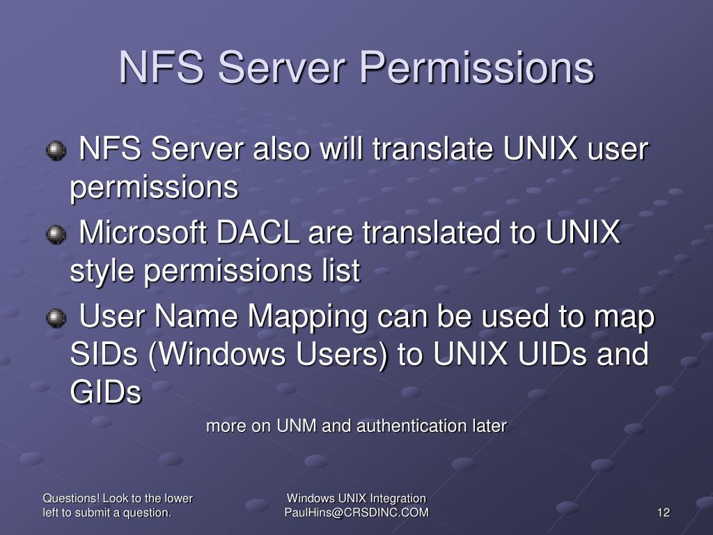 NFS Server Permissions