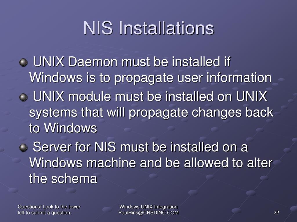 NIS Installations