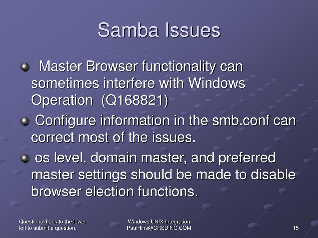 Samba Issues