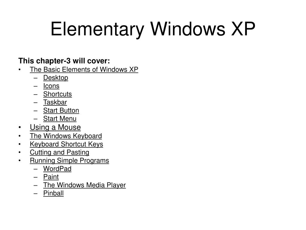 Elementary Windows XP