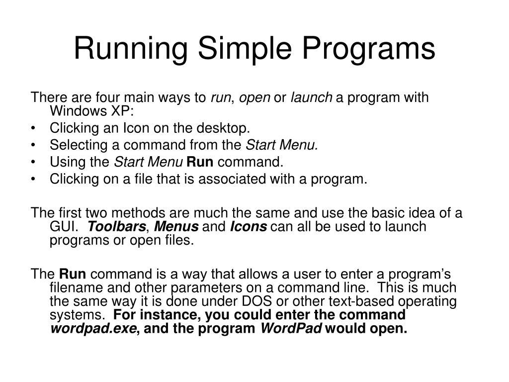 Running Simple Programs