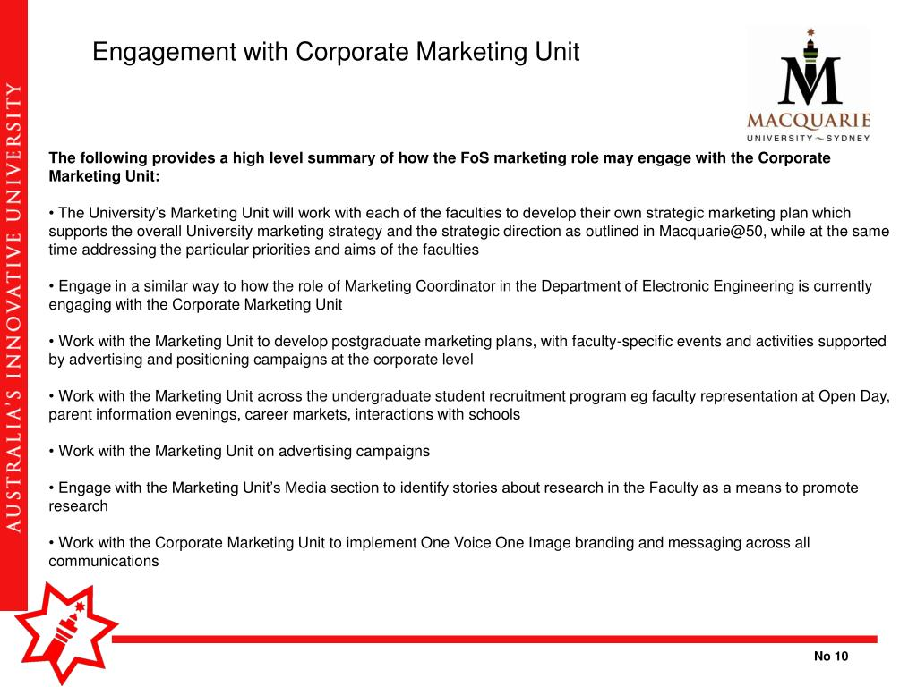 Engagement with Corporate Marketing Unit
