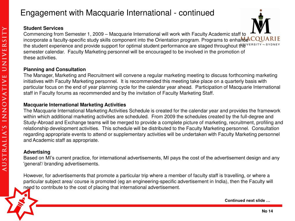 Engagement with Macquarie International - continued