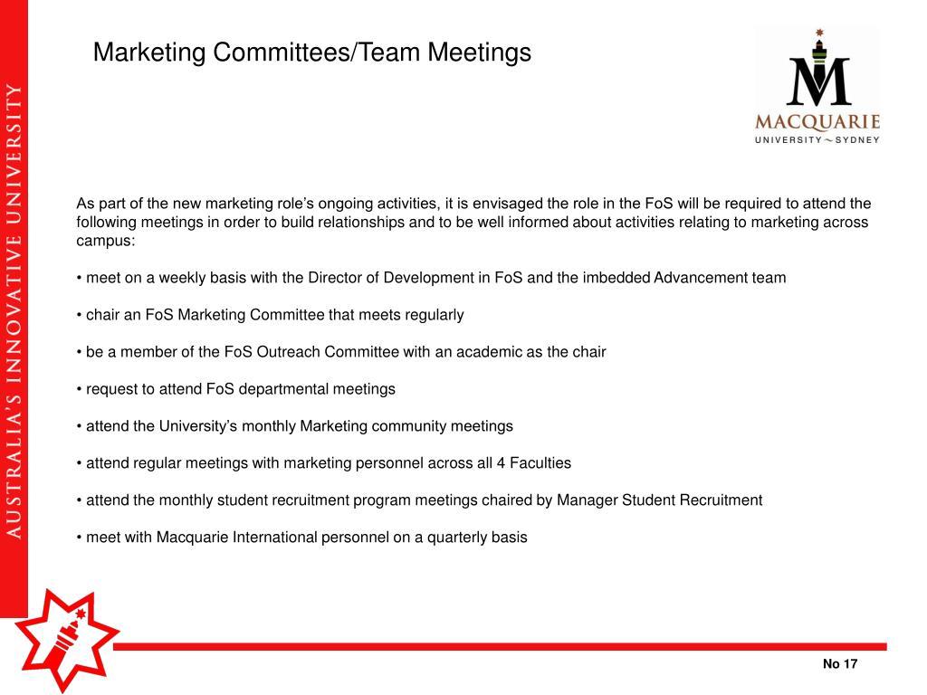 Marketing Committees/Team Meetings
