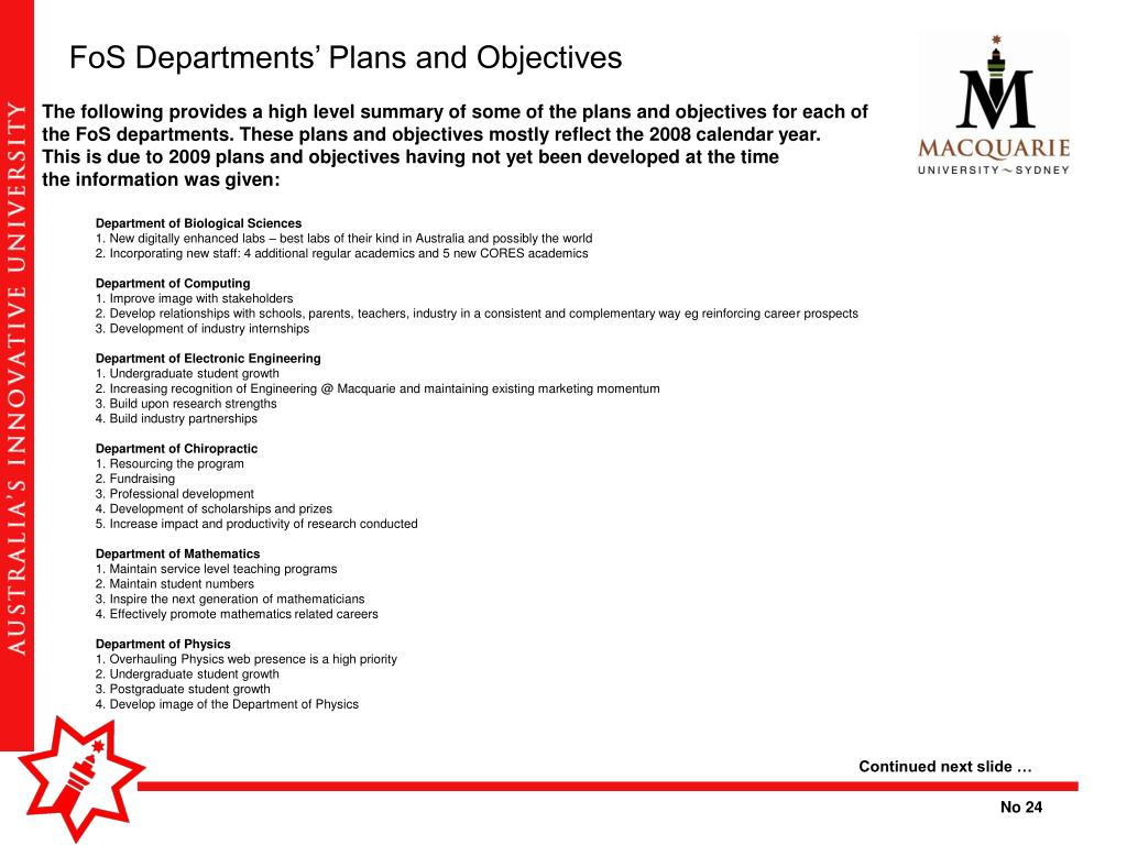 FoS Departments' Plans and Objectives