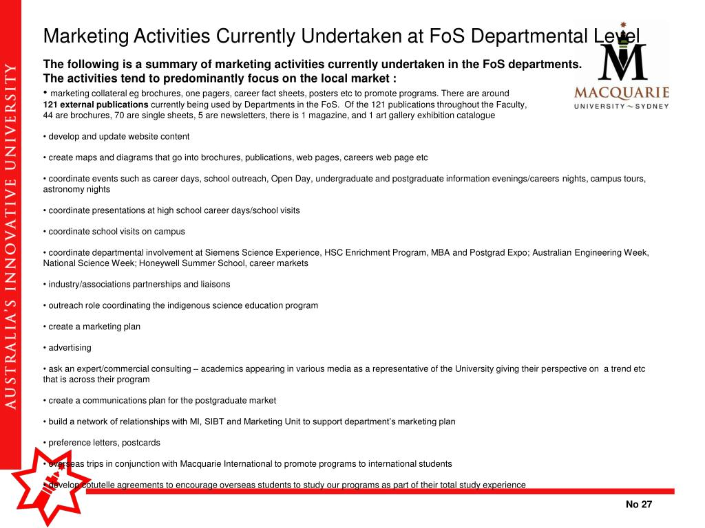 Marketing Activities Currently Undertaken at FoS Departmental Level