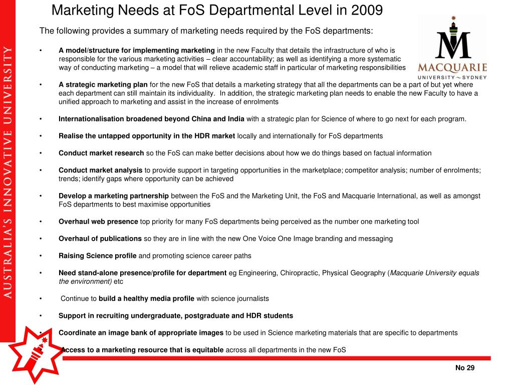 Marketing Needs at FoS Departmental Level in 2009