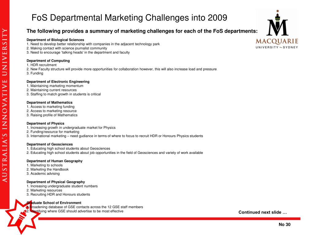 FoS Departmental Marketing Challenges into 2009