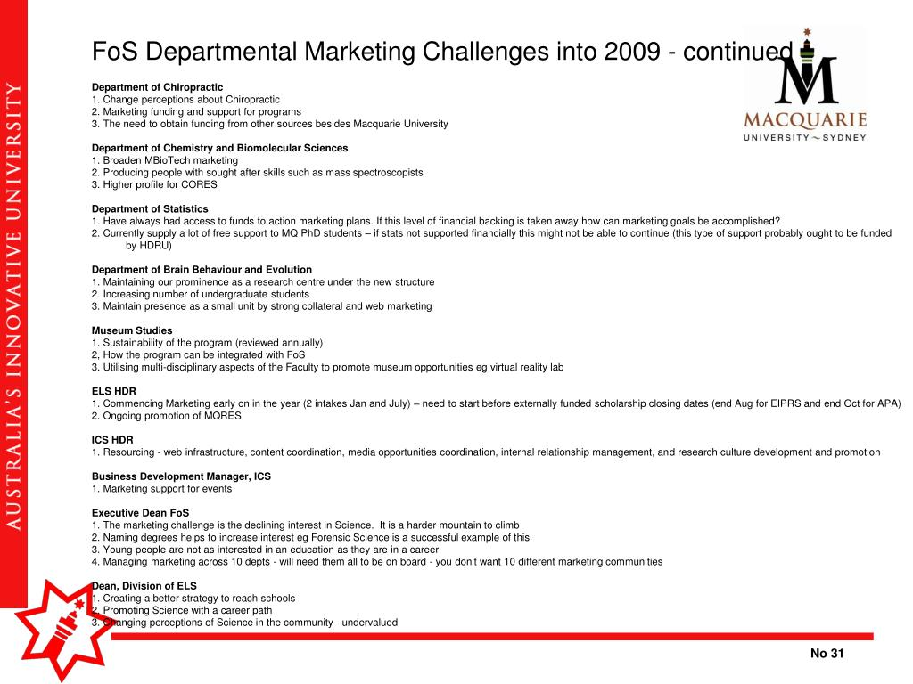 FoS Departmental Marketing Challenges into 2009 - continued