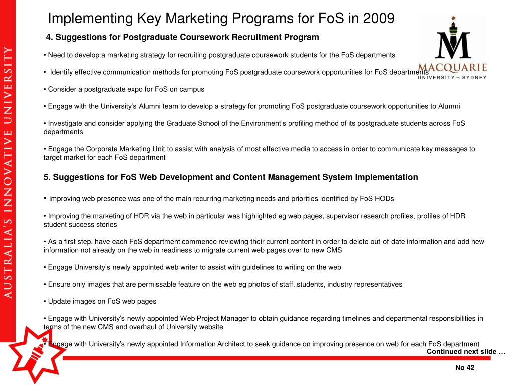 Implementing Key Marketing Programs for FoS in 2009