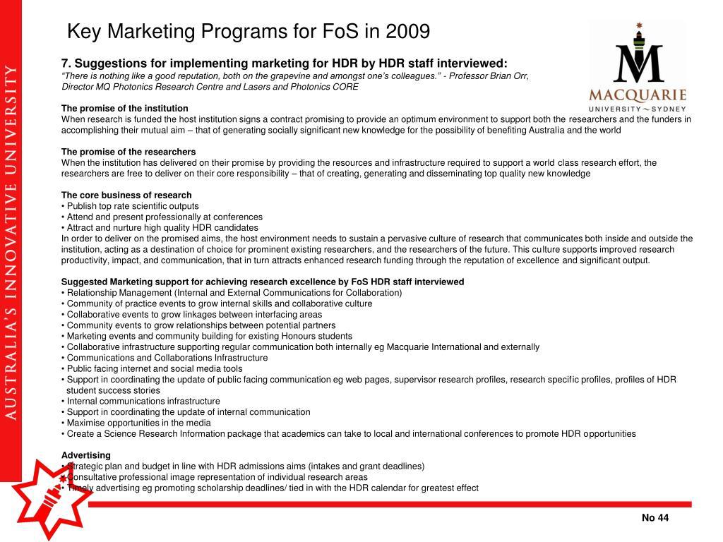 Key Marketing Programs for FoS in 2009