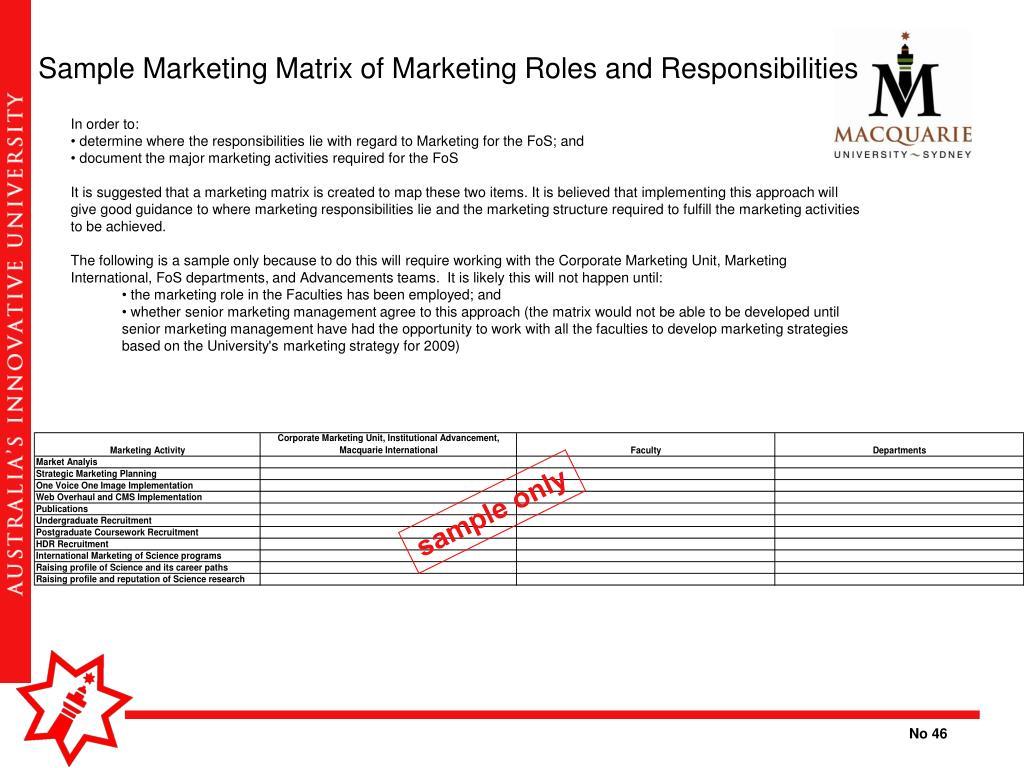 Sample Marketing Matrix of Marketing Roles and Responsibilities