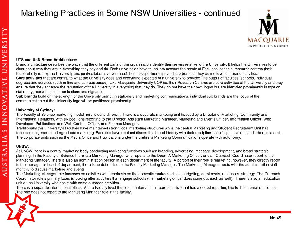 Marketing Practices in Some NSW Universities - continued