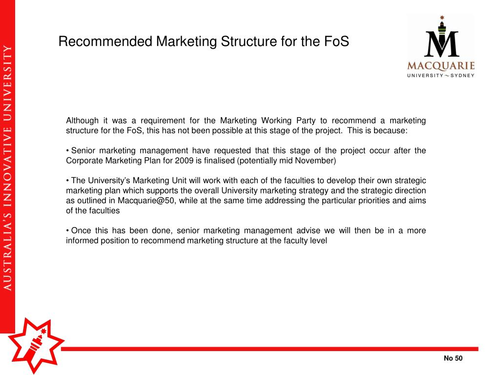 Recommended Marketing Structure for the FoS