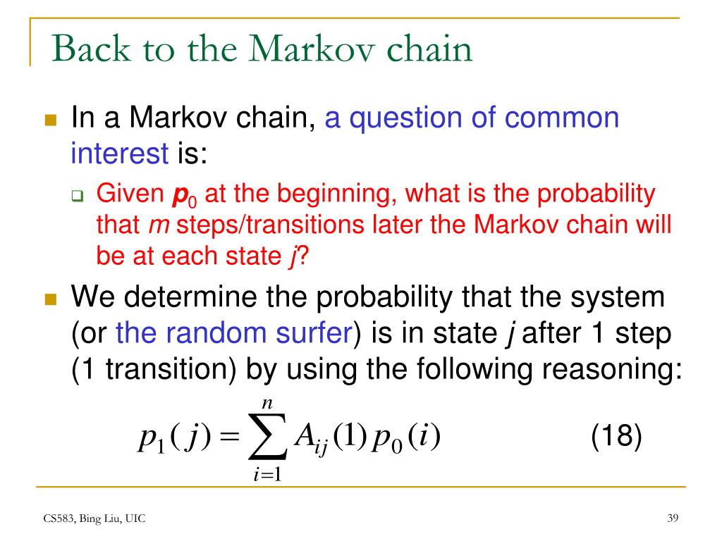 Back to the Markov chain