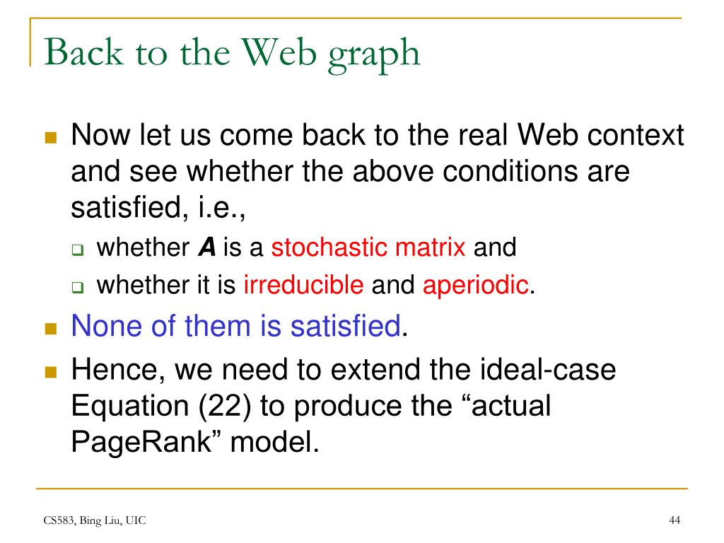 Back to the Web graph