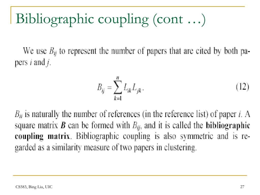 Bibliographic coupling (cont …)