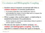 co citation and bibliographic coupling