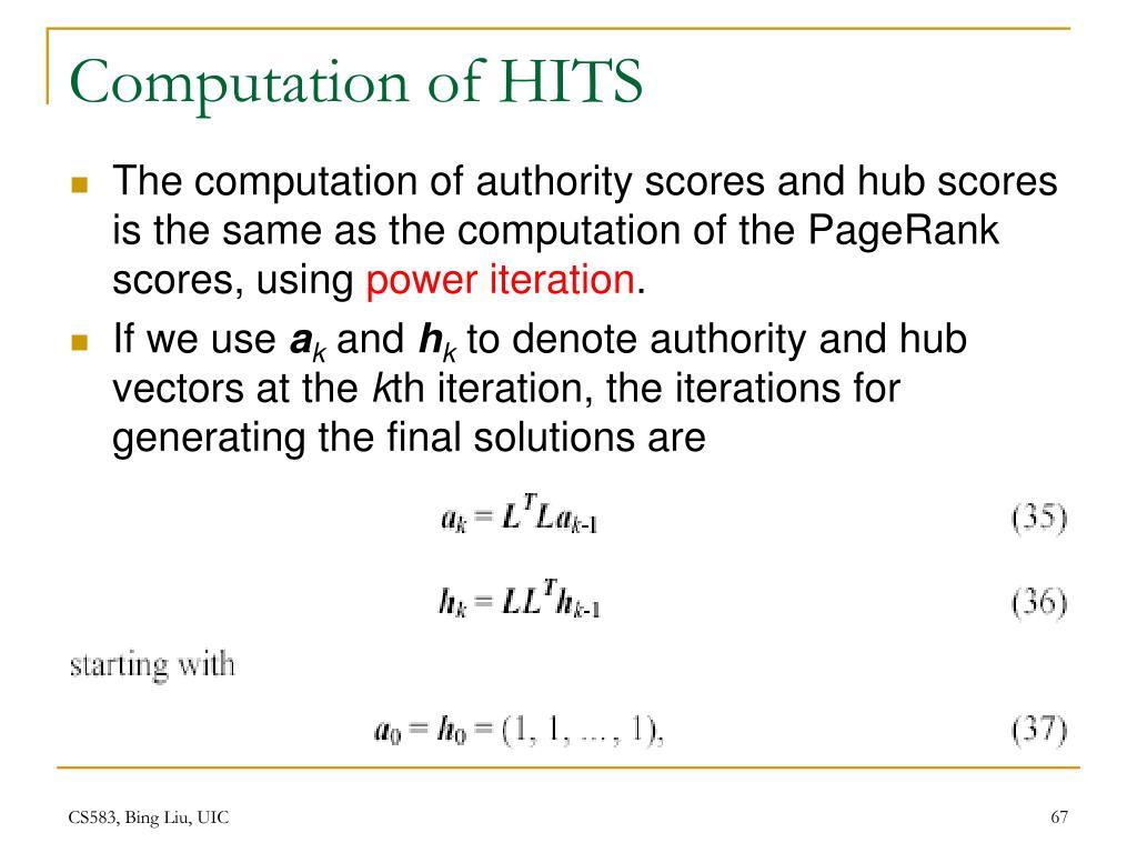 Computation of HITS