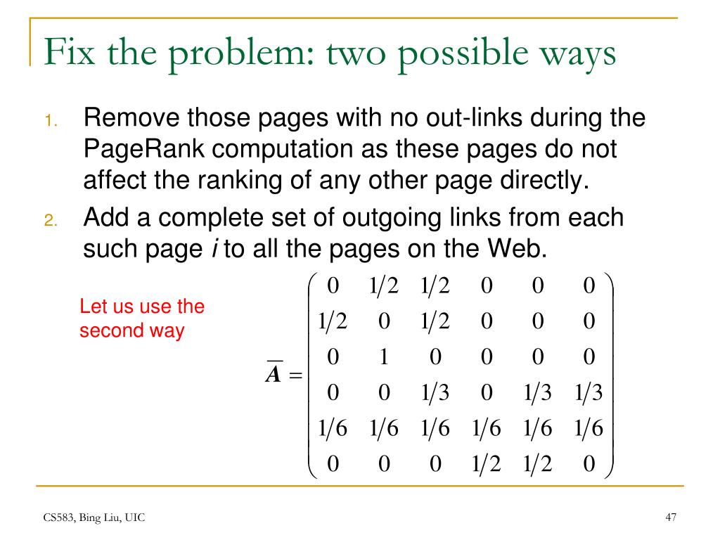 Fix the problem: two possible ways