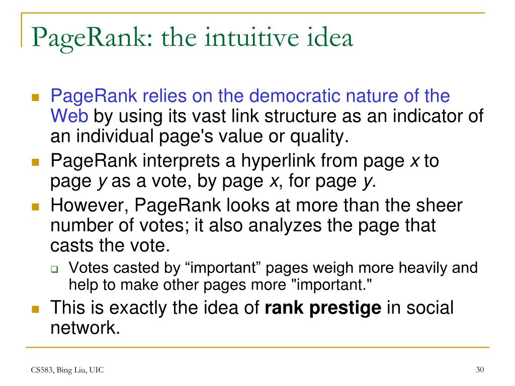 PageRank: the intuitive idea