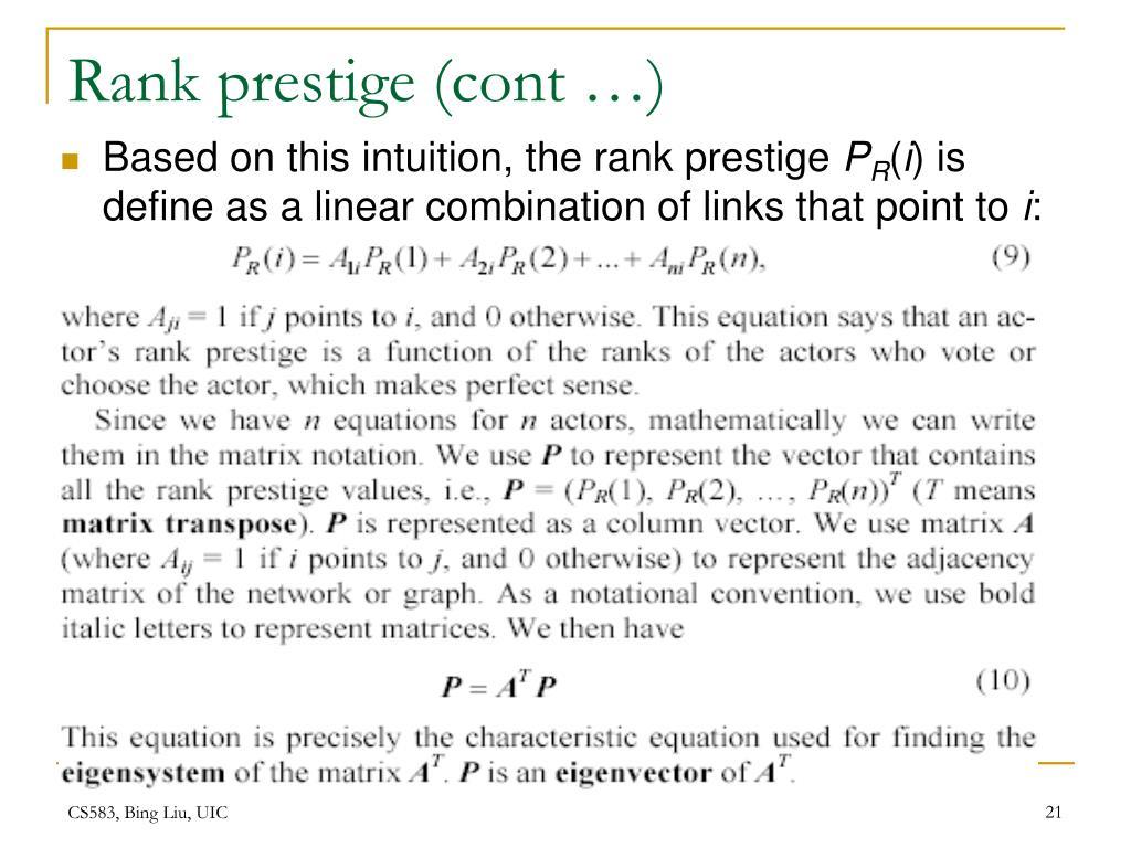 Rank prestige (cont …)