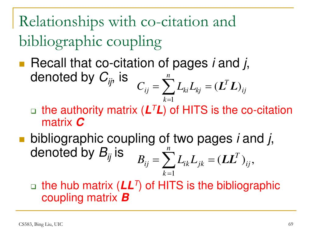 Relationships with co-citation and bibliographic coupling