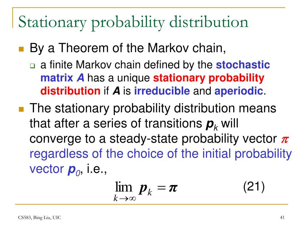 Stationary probability distribution