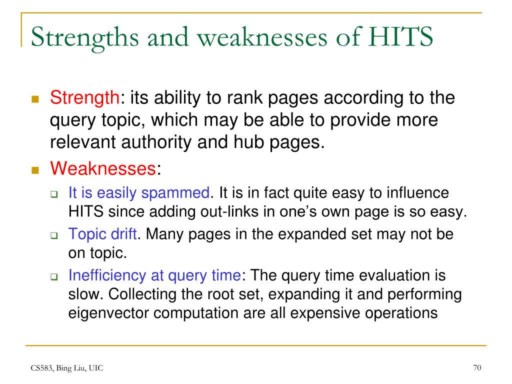 Strengths and weaknesses of HITS