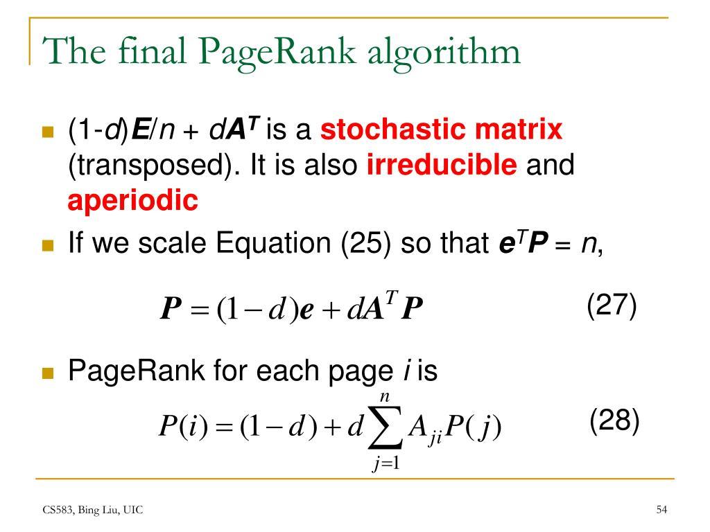 The final PageRank algorithm