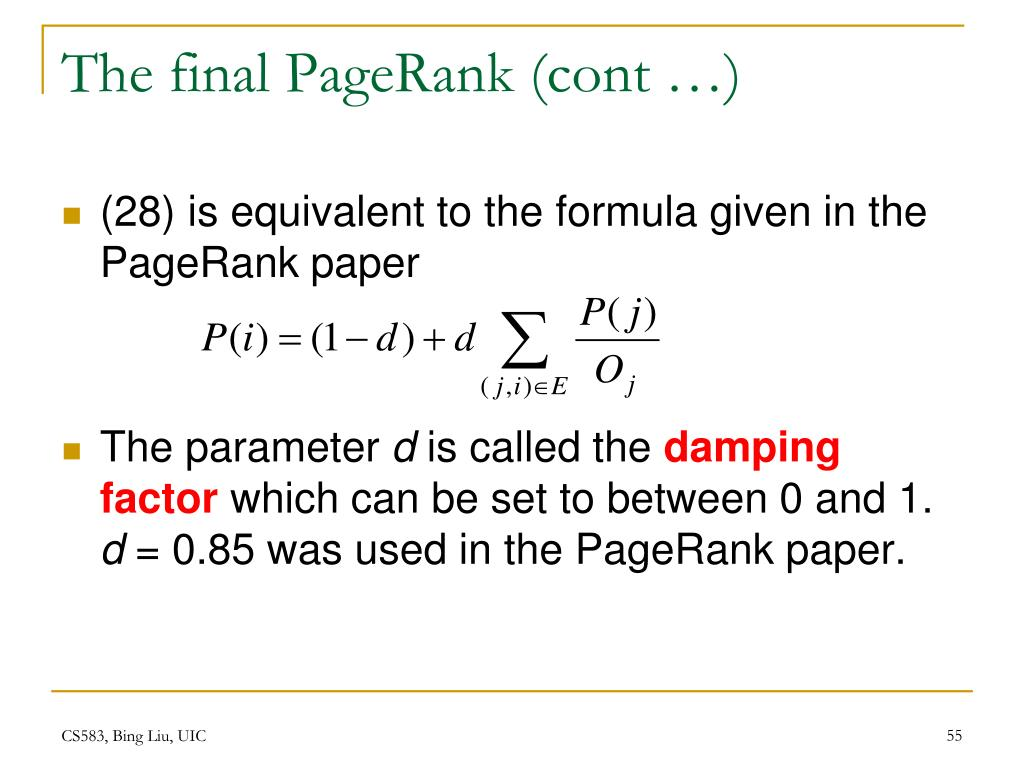 The final PageRank (cont …)